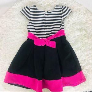 Dresses - Striped black, white & pink little girls dress